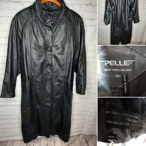 Pelle women's long leather coat size M